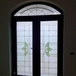 Usa pvc exterioara cu sticla vitrata_nuanta nuc_Cesarom Botosani